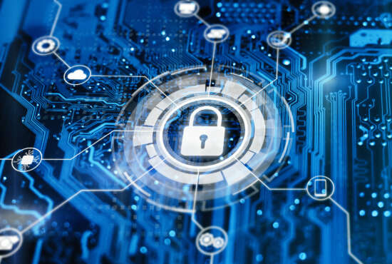 Cybersecurity and secure nerwork concept. Data protection, gdrp. Glowing futuristic backround with lock on digital integrated circuit.