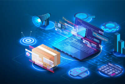 Smart logistics industry 4.0. Inventory optimization isometric  Asset warehouse and inventory management supply chain technology concept.