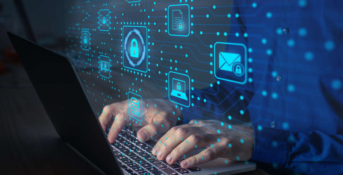 Cyber security IT engineer working on protecting network against cyberattack from hackers on internet. Secure access for online privacy and personal data protection. Hands typing on keyboard and PCB