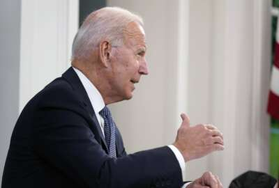 President Joe Biden speaks during a meeting with business leaders about the debt limit in the South Court Auditorium on the White House campus, Wednesday, Oct. 6, 2021, in Washington. (AP Photo/Evan Vucci)