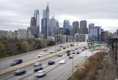FILE - In this March 31, 2021 file photo, traffic moves along the Interstate 76 highway in Philadelphia. President Joe Biden on Tuesday, Oct. 19, announced his intention to nominate Steven Cliff, who has served as deputy administrator of the National Highway Traffic Safety Administration since February, to become the agency's administrator. (AP Photo/Matt Rourke, File)