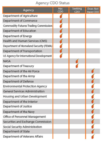 A chart showing the number of agencies that currently employ chief data officers.