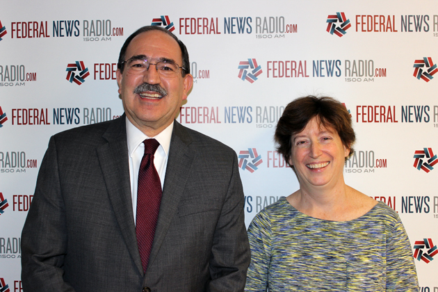 John Palguta, left, vice president for Policy at the Partnership for Public Service, and Janet Kopenhaver, Washington representative of Federally Employed Women, count down the week's top stories with Francis Rose. (Photo by Michael O'Connell/Federal News Radio)