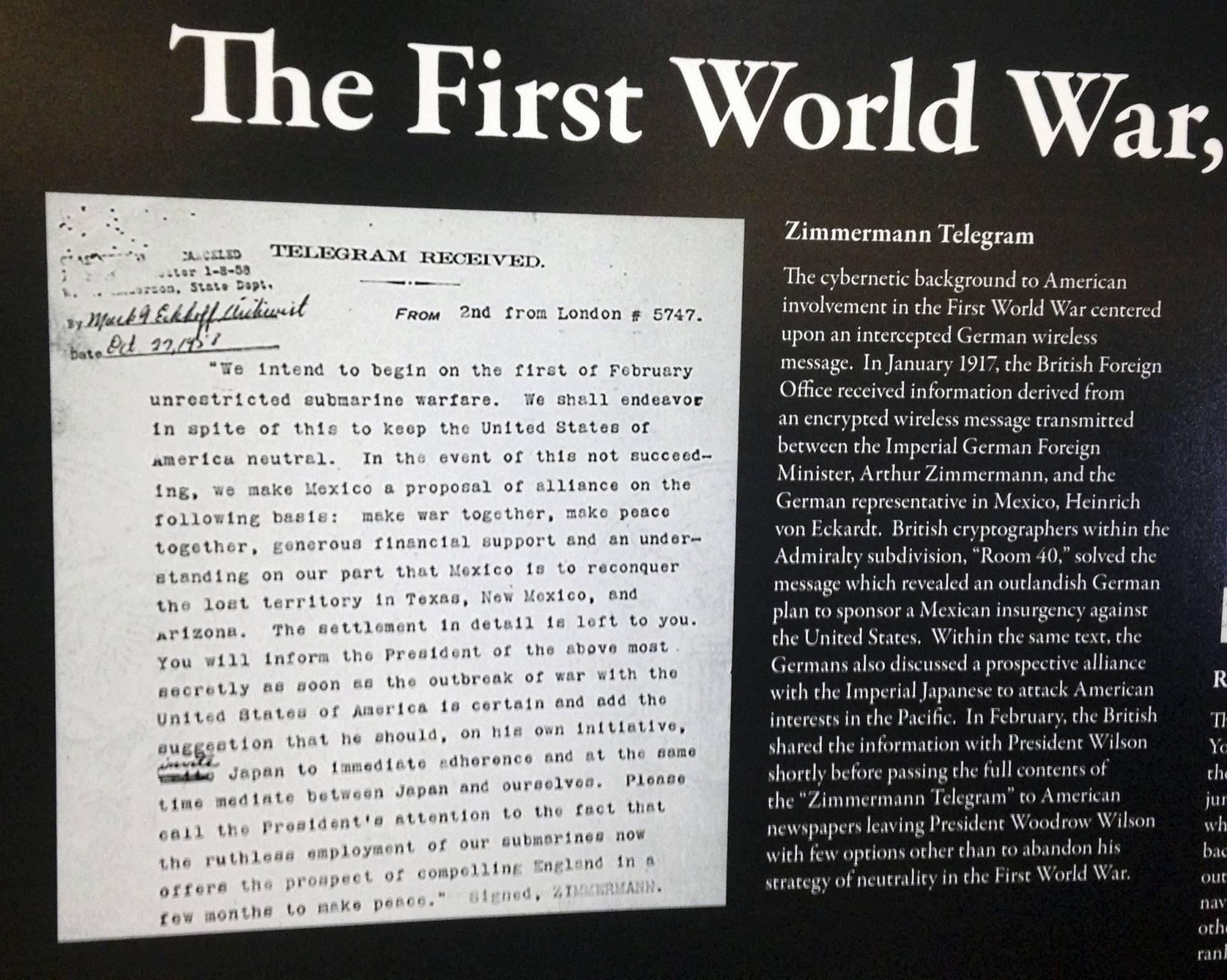 Zimmermann Telegram Secret WWI telegram ho...