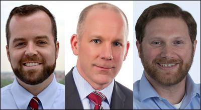 head shots of Matt Goodrich, David McOmber, Seth Adams